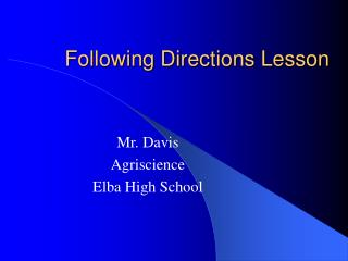 Following Directions Lesson