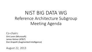 NIST BIG DATA WG Reference Architecture Subgroup Meeting Agenda