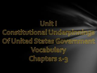 Unit I Constitutional Underpinnings Of United States Government Vocabulary Chapters 1-3