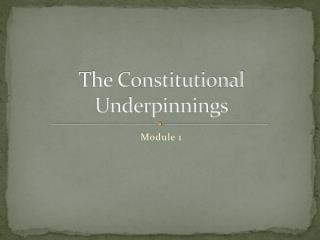 The Constitutional Underpinnings