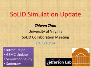 SoLID  Simulation Update