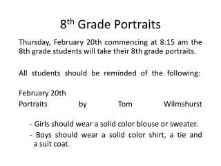8 th Grade Portraits