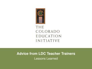 Advice from  LDC Teacher  Trainers