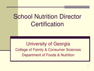 School Nutrition Director Certification