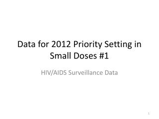 Data for 2012 Priority Setting in Small Doses #1