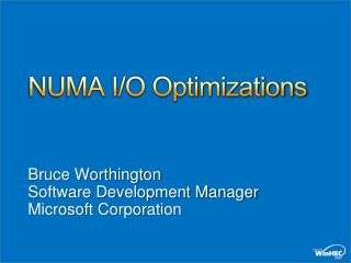NUMA I/O Optimizations