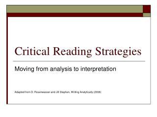 Critical Reading Strategies