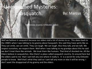 Unexplained Mysteries: sasquatch.