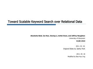 Toward Scalable Keyword Search over Relational Data