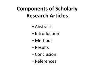 Components of Scholarly Research Articles