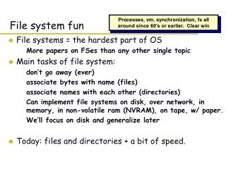 CS 140 Lecture: files and directories