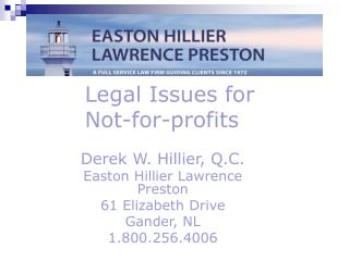 Legal Issues for Not-for-profits