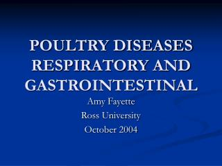 POULTRY DISEASES RESPIRATORY AND GASTROINTESTINAL