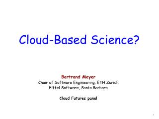 Cloud-Based Science?