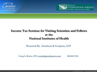 Income Tax Seminar for Visiting Scientists and Fellows at the National Institutes of Health