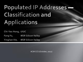 Populated IP Addresses — Classification and Applications