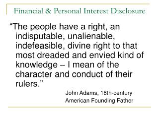 Financial & Personal Interest Disclosure