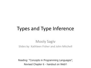 Types and Type Inference