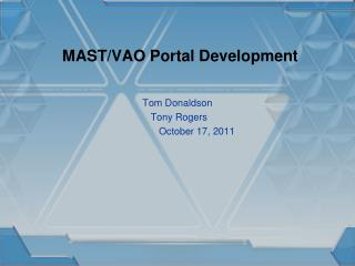 MAST/VAO Portal Development