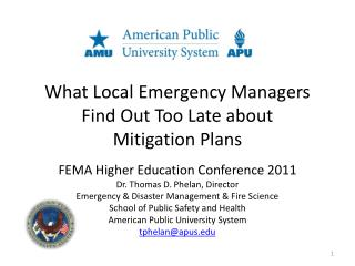 What Local Emergency Managers Find Out Too Late about Mitigation Plans