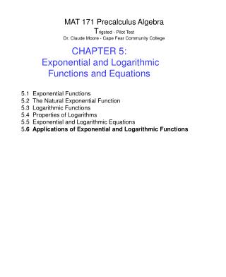 MAT 171 Precalculus Algebra T rigsted - Pilot Test Dr. Claude Moore - Cape Fear Community College