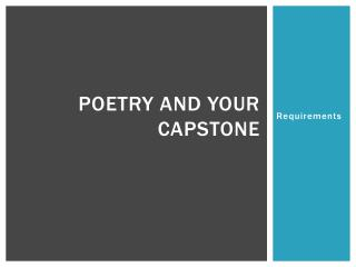 Poetry and your Capstone