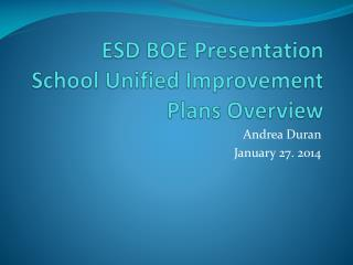 ESD BOE Presentation School Unified Improvement Plans Overview
