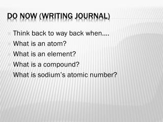 Do Now (Writing Journal)