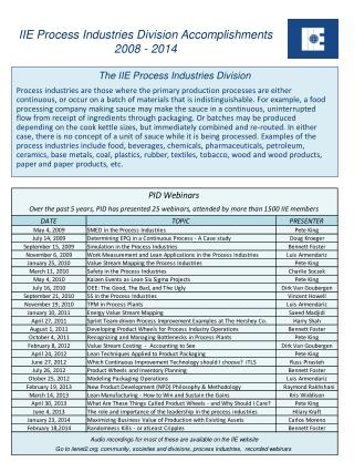 IIE Process Industries Division Accomplishments  2008 - 2014