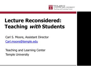 Lecture Reconsidered: Teaching  with  Students