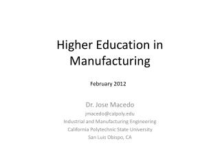 Higher Education in Manufacturing