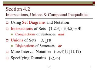 Section 4.2 Intersections, Unions & Compound Inequalities