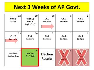 Next 3 Weeks of AP Govt.