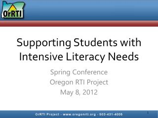 Supporting Students with Intensive Literacy Needs