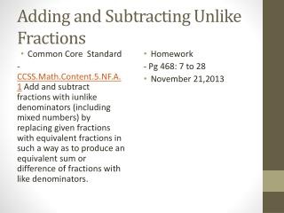Adding and Subtracting Unlike Fractions