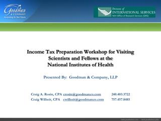Income Tax Preparation Workshop for Visiting Scientists and Fellows at the  National Institutes of Health