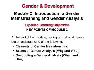 Module 2: Introduction to Gender Mainstreaming and Gender Analysis