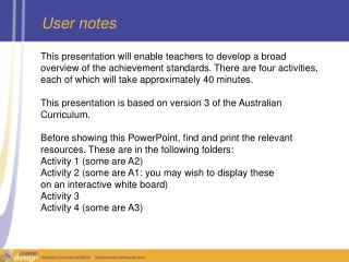 User notes