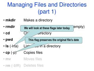 Managing Files and Directories (part 1)