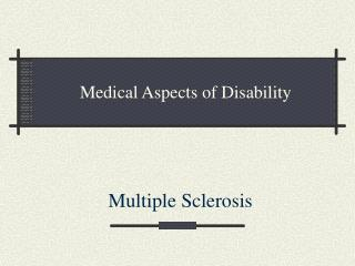 Medical Aspects of Disability