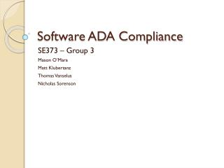 Software ADA Compliance