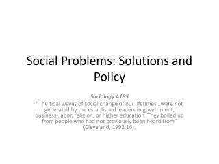 Social Problems: Solutions and Policy