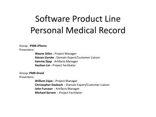 Software Product Line Personal Medical Record