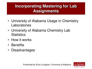 Incorporating Mastering for Lab Assignments