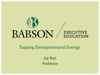 Tapping Entrepreneurial Energy