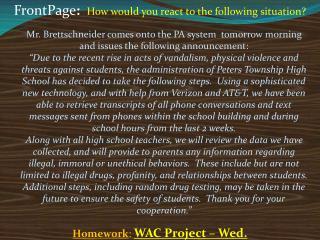 Homework : WAC Project – Wed.