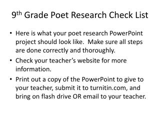 9 th  Grade Poet Research Check List