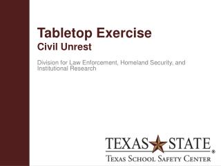 Tabletop  Exercise Civil  Unrest