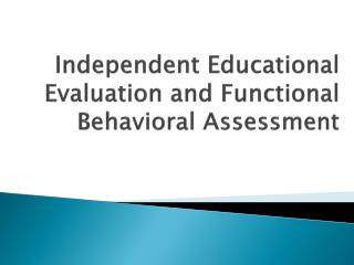Independent Educational Evaluation and Functional Behavioral Assessment