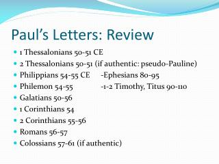 Paul's Letters:  Review